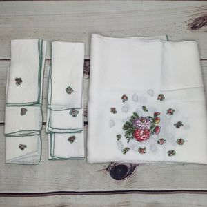 Vintage White Linen Floral Tablecloth and Napkins